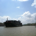 Panama Canal  Passing a Huge Chinese Freighter